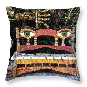 Throw Pillow featuring the painting Looking Bench by Dan Redmon