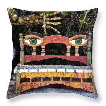 Looking Bench Throw Pillow by Dan Redmon