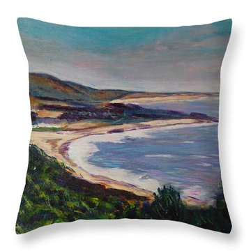 Looking Down On Half Moon Bay Throw Pillow by Carolyn Donnell