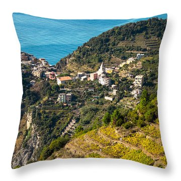Looking Down Onto Corniglia Throw Pillow