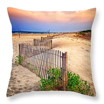 Looking Down The Beach Throw Pillow