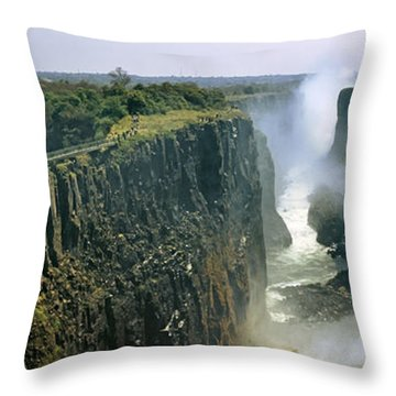 Looking Down The Victoria Falls Gorge Throw Pillow by Panoramic Images