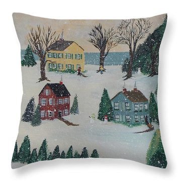 Throw Pillow featuring the painting Looking For A Tree by Virginia Coyle