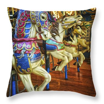 Throw Pillow featuring the photograph Dancing Horses by Debra Fedchin