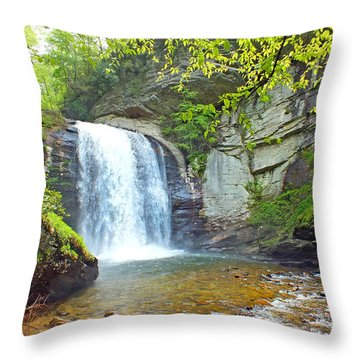 Looking Glass Waterfall In The Spring 2 Throw Pillow