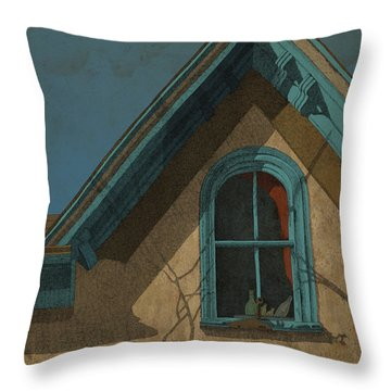 Throw Pillow featuring the drawing Looking In by Meg Shearer