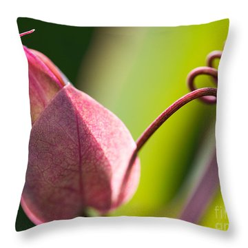 Looking Into A Pink Bud Throw Pillow by Michelle Wiarda-Constantine