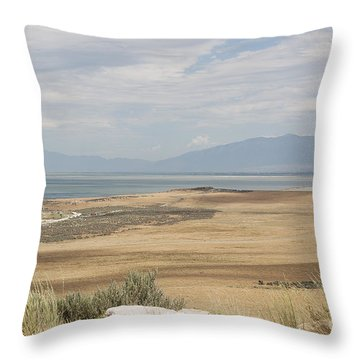 Looking North From Antelope Island Throw Pillow by Belinda Greb