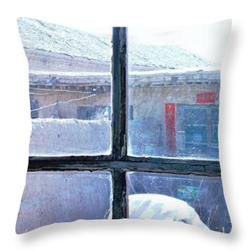 Throw Pillow featuring the photograph Looking Out The Kitchen Door In February by Ethna Gillespie