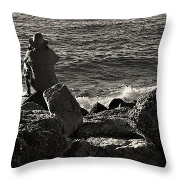 Looking Out To Sea I Throw Pillow by Pamela Blizzard