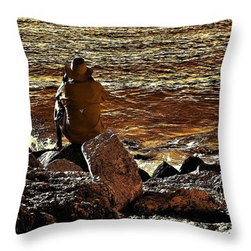 Looking Out To Sea II Throw Pillow by Pamela Blizzard