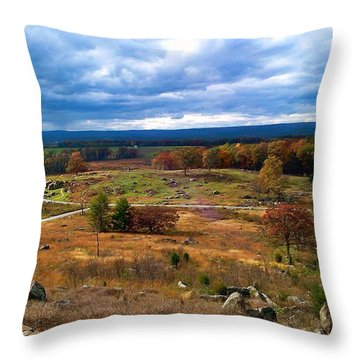 Looking Over The Gettysburg Battlefield Throw Pillow