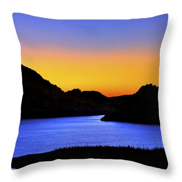 Looking Through The Quartz Mountains At Sunrise - Lake Altus - Oklahoma Throw Pillow by Jason Politte