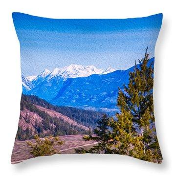 Looking To Mazama From Sun Mountain Throw Pillow by Omaste Witkowski