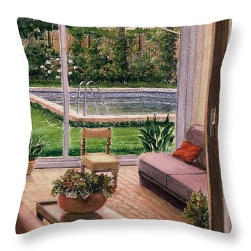 Looking To Outside  Throw Pillow