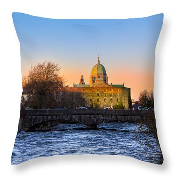 Throw Pillow featuring the photograph Looking Up River Corrib To Galway Cathedral by Mark E Tisdale