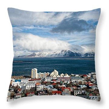 Lookout Over Reykjavik Throw Pillow