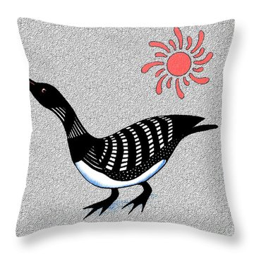 Loon And Sun Throw Pillow