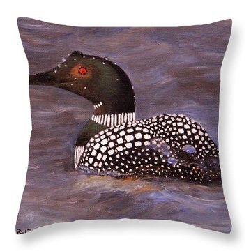 Loon In Lake Throw Pillow