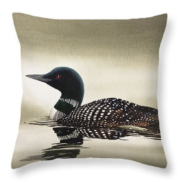 Loon In Still Waters Throw Pillow