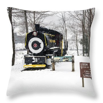 Loon Mountain Train Throw Pillow