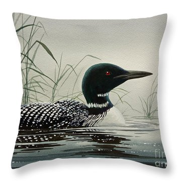 Loon Near The Shore Throw Pillow