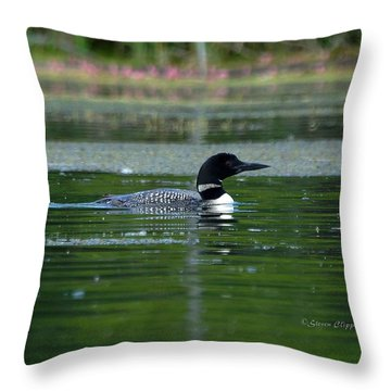 Loon On Indian Lake Throw Pillow by Steven Clipperton