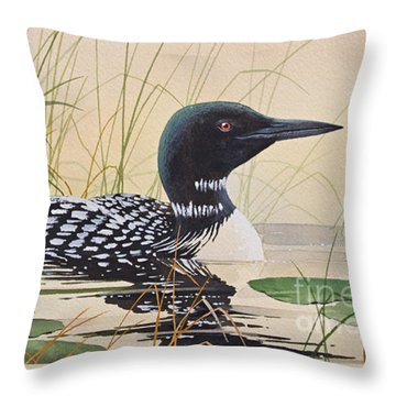 Loon's Tranquil Shore Throw Pillow