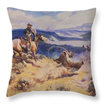 Loops And Swift Horses Are Surer Then Lead Throw Pillow by Charles Russell