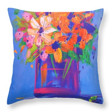 Loosey Goosey Flowers Throw Pillow by Terri Einer