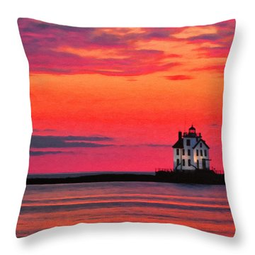 Lorain Lighthouse At Sunset Throw Pillow