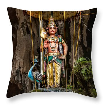Lord Murugan Statue Throw Pillow by Adrian Evans