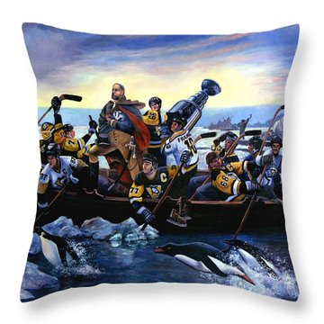Lord Stanley And The Penguins Crossing The Allegheny Throw Pillow