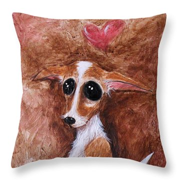 Throw Pillow featuring the painting Loretta Chihuahua Big Eyes  by Patricia Lintner