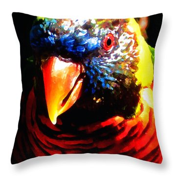 Lorikeet Throw Pillow by Timothy Bulone