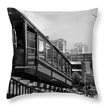 Los Angeles Angels Flight.bw Throw Pillow by Jennie Breeze