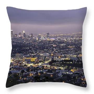 Throw Pillow featuring the photograph Los Angeles At Night From The Griffith Park Observatory by Belinda Greb