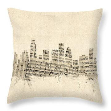 Los Angeles California Skyline Sheet Music Cityscape Throw Pillow