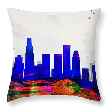 Los Angeles City Skyline Throw Pillow by Naxart Studio