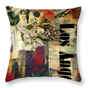 Los Angeles Collage  Throw Pillow by Corporate Art Task Force