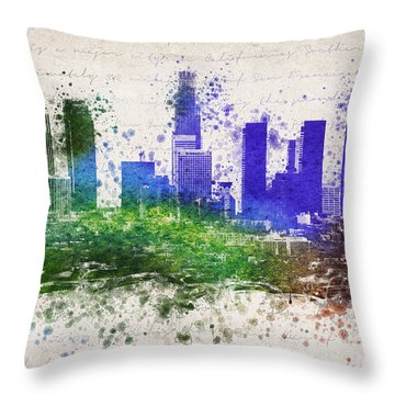 Los Angeles In Color  Throw Pillow by Aged Pixel
