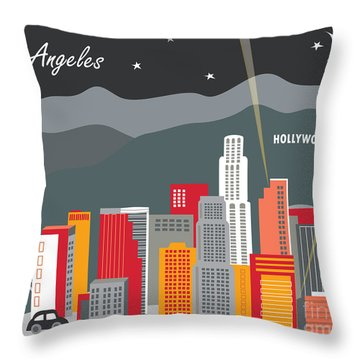 Los Angeles California Horizontal Skyline - Hollywood Hills - Night Throw Pillow