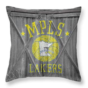 Los Angeles Milwaukee Lakers Throw Pillow by Joe Hamilton