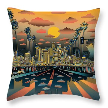 Los Angeles Skyline Abstract 2 Throw Pillow by Bekim Art