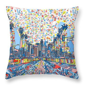 Los Angeles Skyline Abstract 3 Throw Pillow by Bekim Art