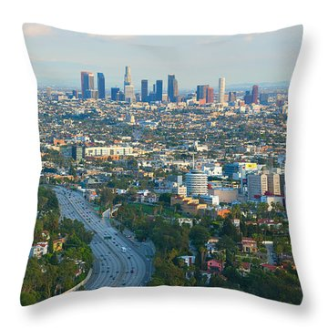 Throw Pillow featuring the photograph Los Angeles Skyline And Los Angeles Basin Panorama by Ram Vasudev