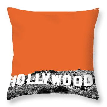 Los Angeles Skyline Hollywood - Coral Throw Pillow by DB Artist