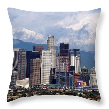 Los Angeles Skyline With Snowy Mountains Throw Pillow