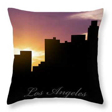 Los Angeles Sunset Throw Pillow by Aged Pixel