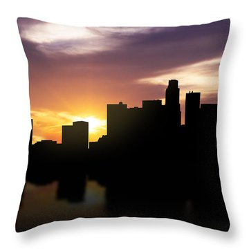 Los Angeles Sunset Skyline  Throw Pillow by Aged Pixel